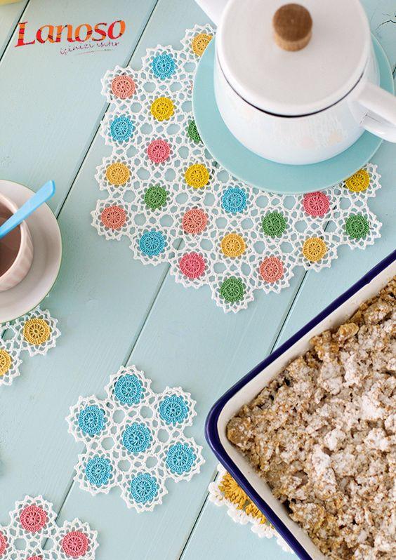 Hayırlı Cumalar Hanımlar, kahvaltı sofralarınıza rengarenk suplalar örerek renk katın. #supla #suplat #kahvaltı #lanoso #lanosoileörüyorum