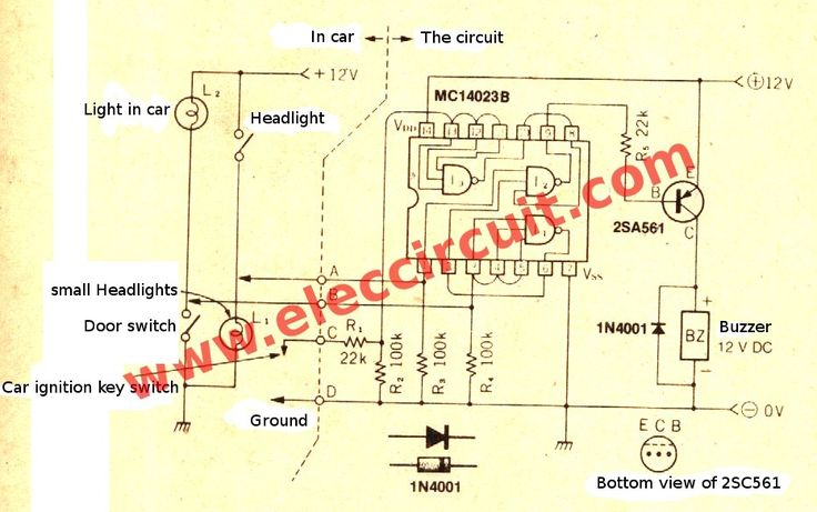 This is a headlights alarm circuit, when forgot turn off headlight on car. may cannot start car,batteries lose voltage. it warning buzzer using nand gate IC