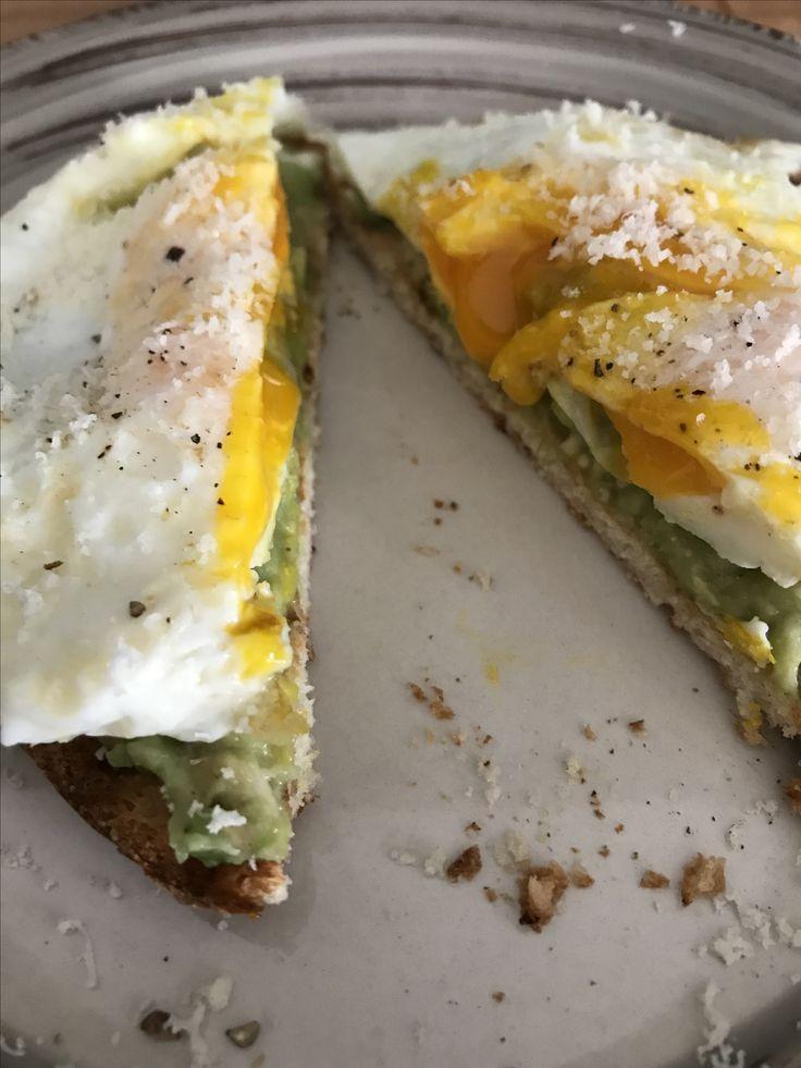 Avocado toast , eggs , food