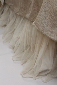 whimsical! Couture Dreams Whisper Ivory Bed Skirt- put this same material behind the burlap curtains!!