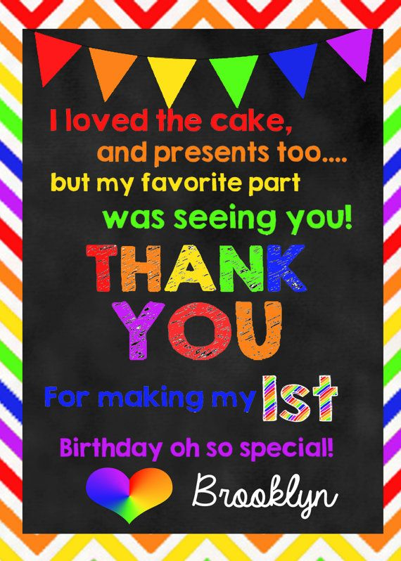 Rainbow Birthday DIGITAL Thank You Note with by huxleyphotodesigns