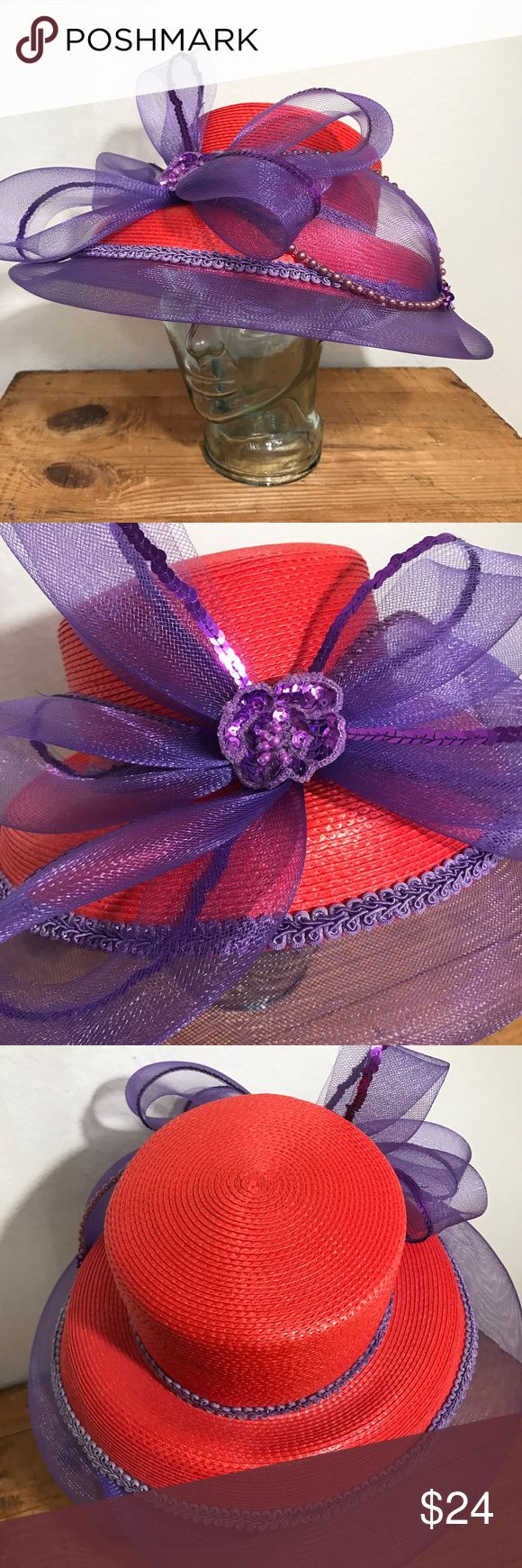 RED MEDIUM BRIM STRAW HAT WITH Purple NETTING Bow RED MEDIUM BRIM STRAW HAT ADORNED WITH Purple NETTING Bow & Sequins SOCIETY LADY Perfect for the Red Hat Society One Size fits most   Please see photos as we do consider them to be a part of the description. Accessories Hats