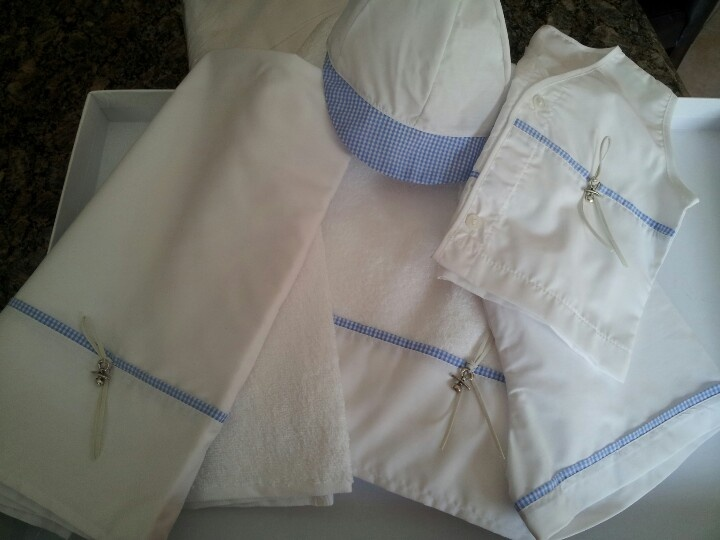Baptismal undergarments -ladopana for baby boy accented with silver pacifier