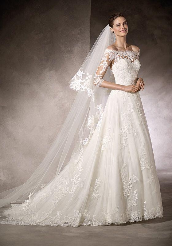 10 best pronovias bridal images on pinterest wedding for Over the shoulder wedding dress