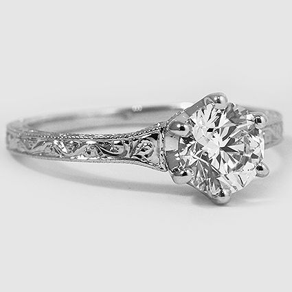 18K White Gold Hudson Ring // Set with a 1.01 Carat, Round, Very Good Cut, I Color, VS1 Clarity Diamond #BrilliantEarth