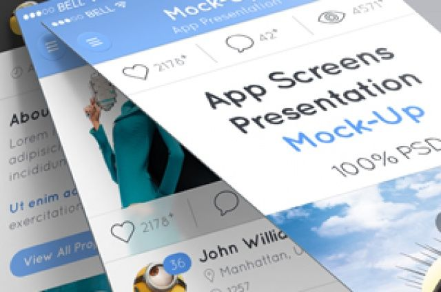 A series of different perspective app screens mock-up to display your mobile project design in a striking manner. Zoom and crop,...