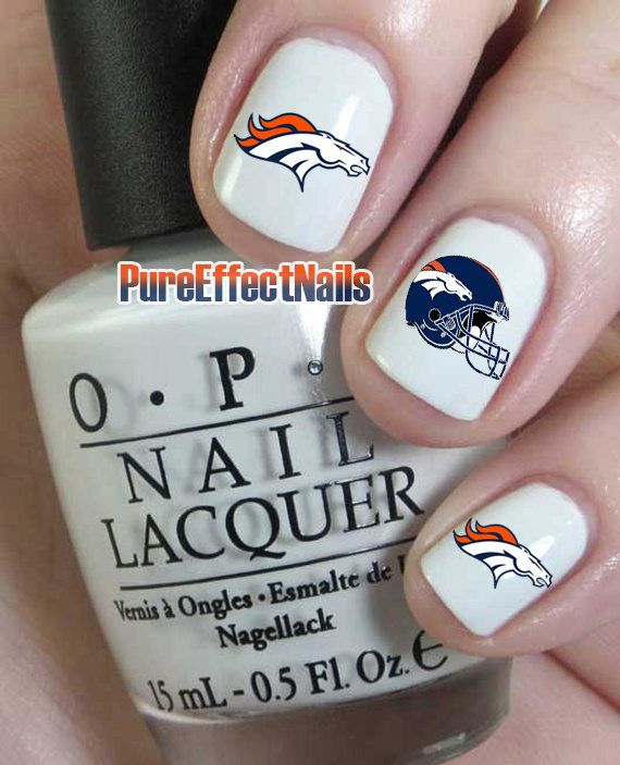 Denver Broncos Nail Decals by PureEffectNails on Etsy, $4.00