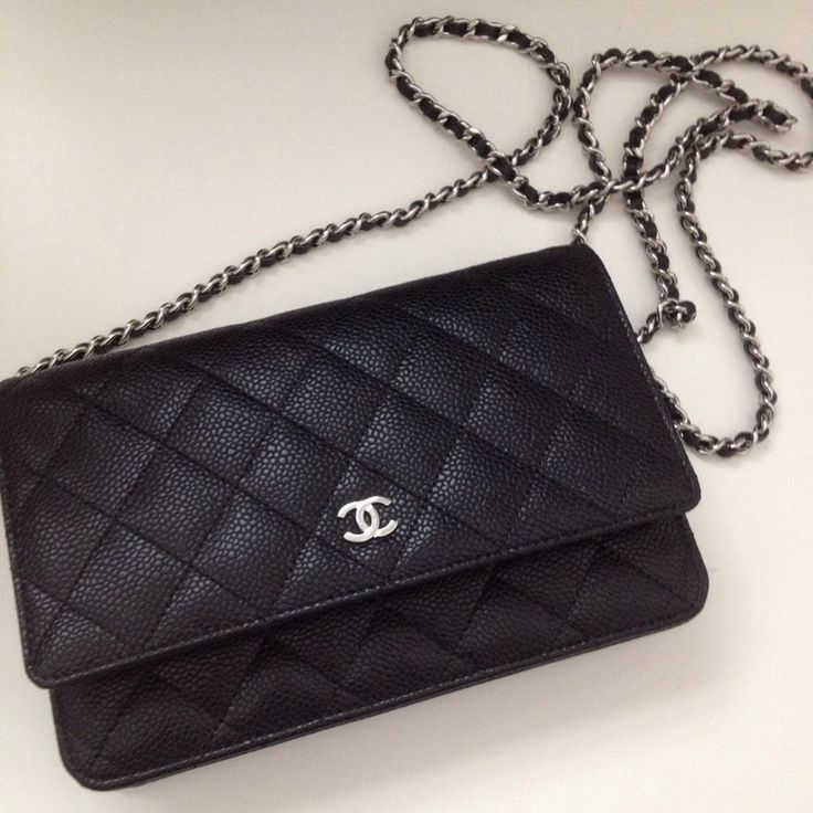 Chanel wallet on chain in classic quilt black caviar with silver hardware  a6b27bfec