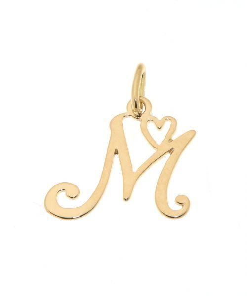 Pendentif Lettre M - Initiale M et coeur  en Or Jaune 750