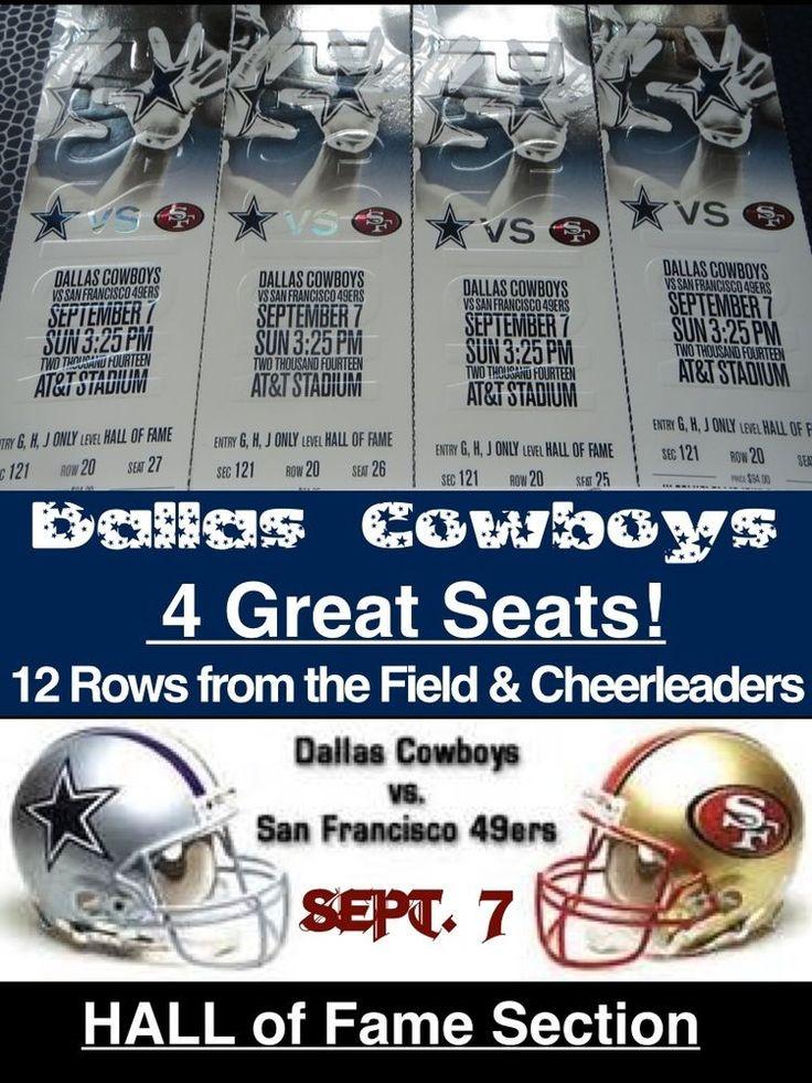 4 GREAT Seats~Dallas Cowboys vs San Francisco 49ers Tickets 09/07/14 (Arlington)