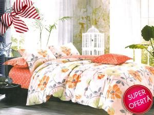 Set lenjerie de pat Orange Flowers 1+1 GRATIS