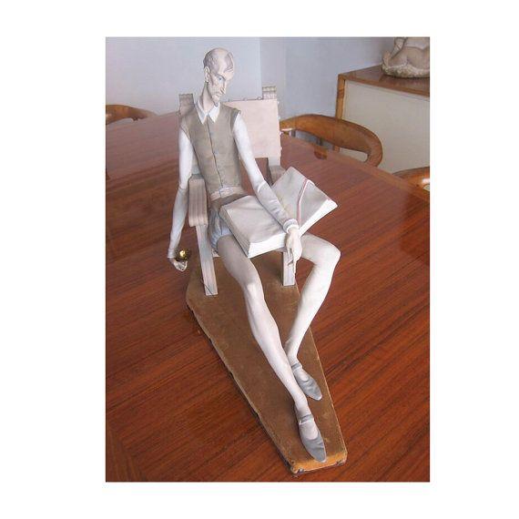 "XXL Lladro RARE & Retired 1992 porcelain figurine 23"" or 58cm # 1030/ Don Quixote vintage sculpture in mint condition"