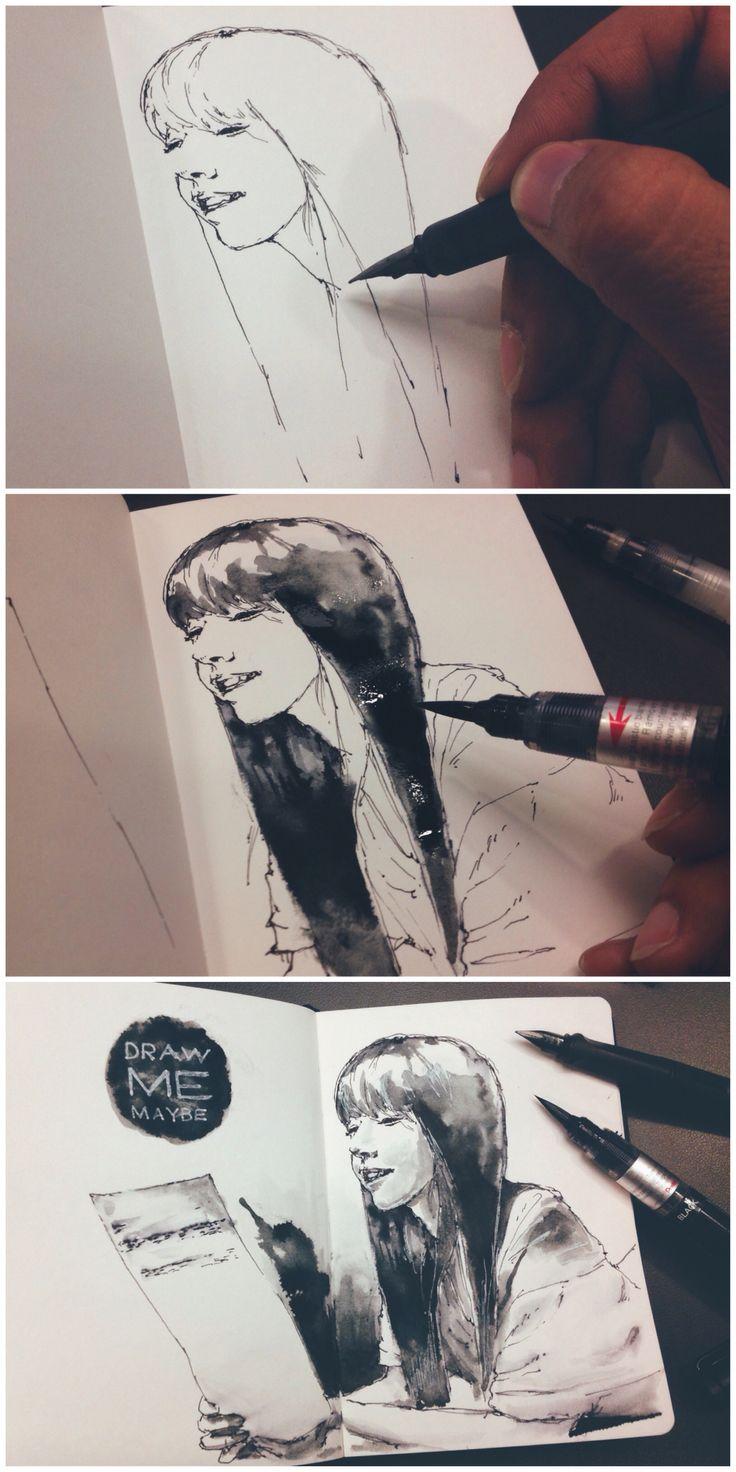 http://www.facebook.com/drawmemaybe #Sketch - From Juniel 2nd album cover - Lamy Safari and Pentel brush pen - My sketchbook