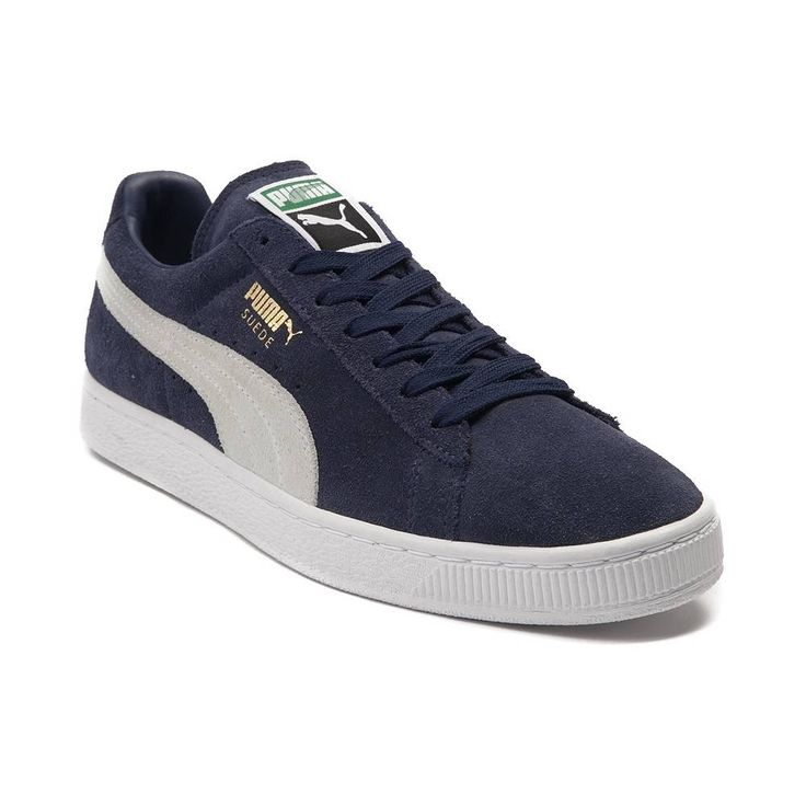 Mens Puma Suede Athletic Shoe - Navy/White - 361579