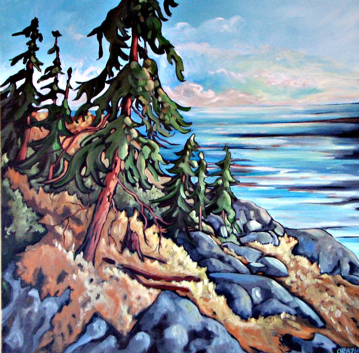 Firs on Hillside - West Coast Acrylic Painting