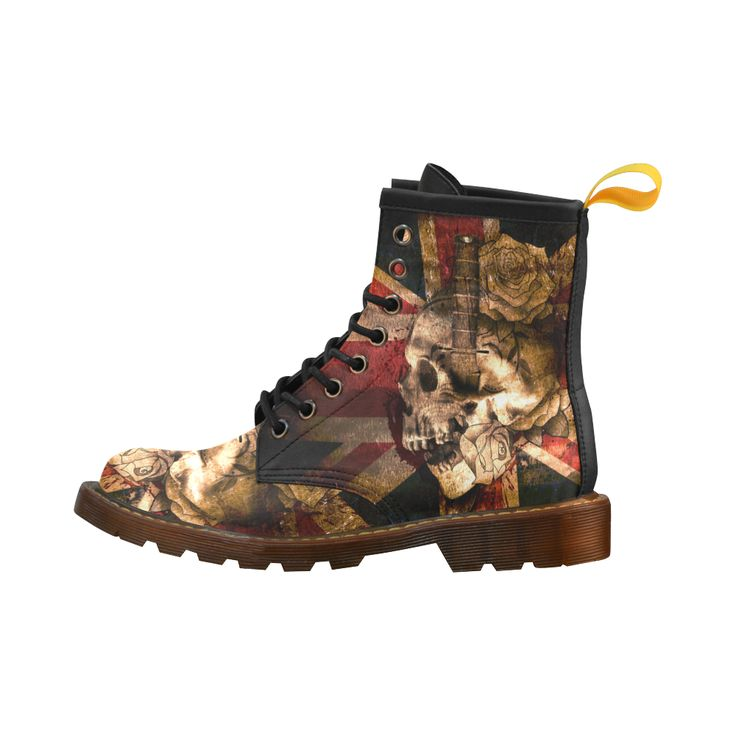 Skull and England Flag Leather Martin Boots For Men #erikakaisersot #artsadd #boots