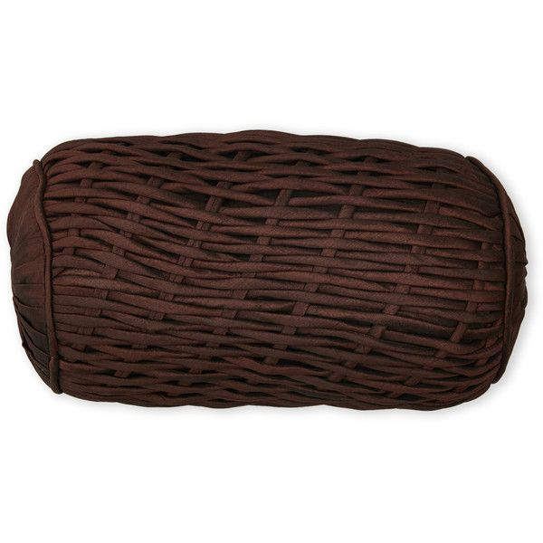 Aviva Stanoff Chocolate Rope Bolster Pillow ($40) ❤ liked on Polyvore featuring home, home decor, throw pillows, brown, dark brown throw pillows, brown accent pillows, chocolate brown throw pillows and brown throw pillows