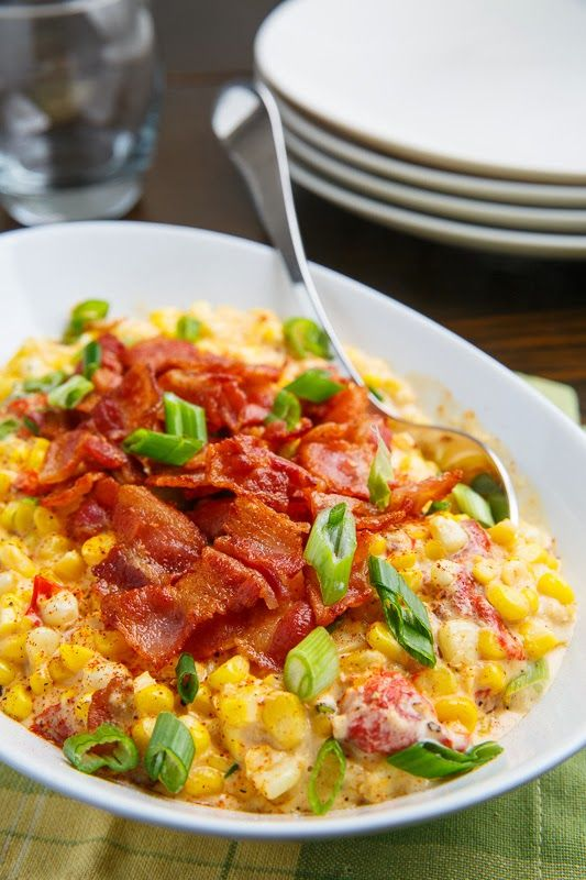 Creamed Corn with Roasted Red Peppers and Bacon