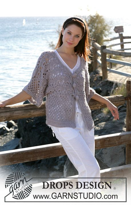 "DROPS crochet jacket with wide sleeves in ""Silke Alpaca"". Size S - XXXL ~ DROPS Design. Free Pattern."