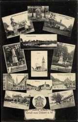 Ansichtskarte / Postkarte Bad Düben an der Mulde Sachsen, Kirche, Germania Denkmal, Rathaus, Paradeplatz, Mittelstraße