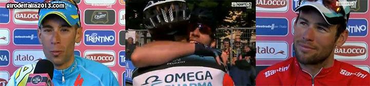 Mark Cavendish gana su quinta etapa en este Giro de Italia 2013, en la última etapa de la carrera y Vincenzo Nibali se adjudica la Maglia Rosa de forma oficial.    Este Giro de Italia nos ha dado imágenes impactantes de competición al mas alto nivel.  Aunque Vincenzo Nibali ha sido el claro favorito desde prácticamente todo el Giro, Cadel Evans y Rigoberto Uran han sido los únicos que le han podido meter presión.    Si la etapa 19 no se hubiera suspendido, ¿Que habría pasado? ....