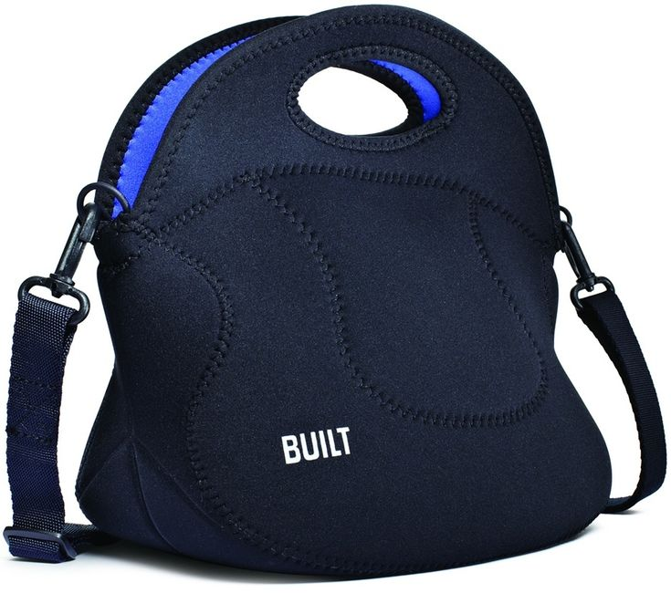 Have your lunch in style with this Spicy Relish lunch tote from Built NY. It features a durable neoprene, polyester, and PEVA construction and it is non-toxic. Featuring a black exterior and a bright cobalt blue interior, it has a soft handle with a removable strap.
