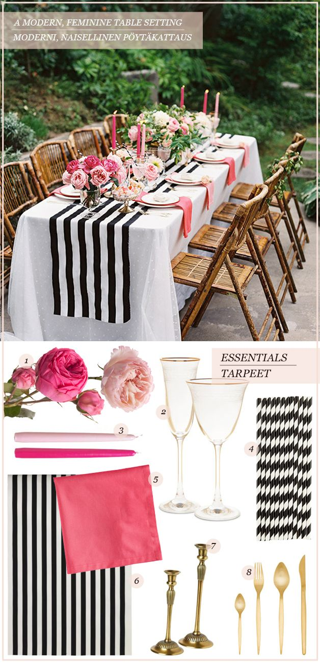 A modern feminine table setting | Get the look table guide on Best Day Ever stiped table cloth
