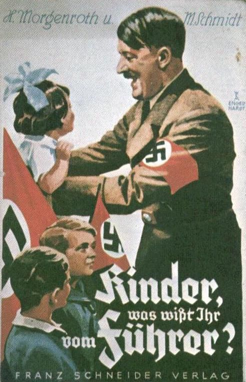 Adolf Hitler was seen as a charismatic man who was capable of great things. This propaganda poster from the WWII era suggests that Hitler was a leader that could be trusted with children, which could lead a nation full of people to trust him with their own lives.