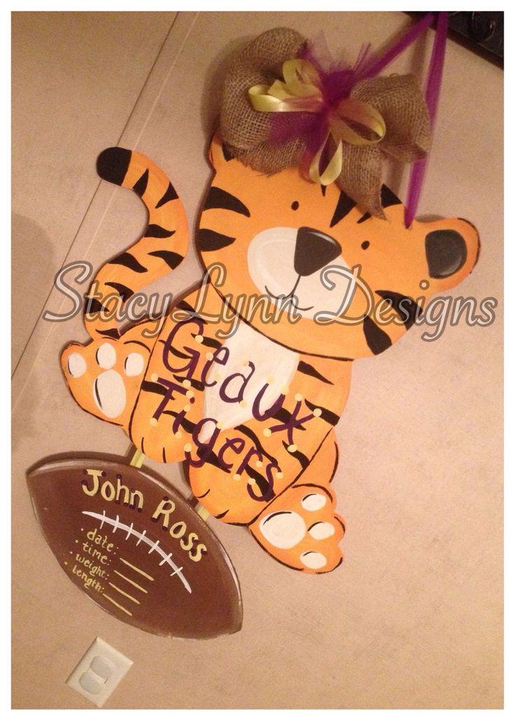LSU tiger baby nursery door hanger sign for hospital! GEAUX tigers!