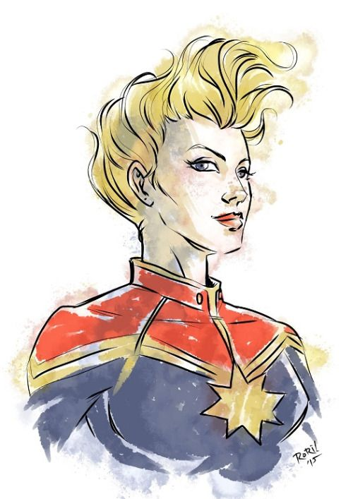 Captain Marvel in her awesome costume and awesome hair, being awesome :D[Carol Danvers Captain Marvel chest-up ¾ view, smiling slightly]