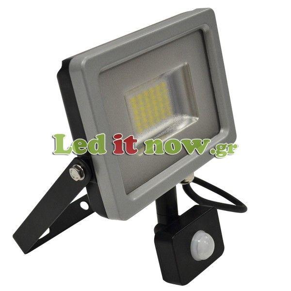 LED Προβολέας 20Watt slim SMD με Ανιχνευτή Κίνησης