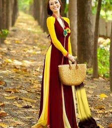 Buy Maroon and Yellow georgette plain semi stitiched party wear gown with dupatta party-wear-gown online
