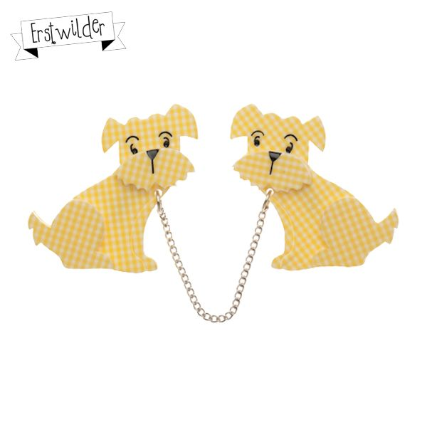 "Henry's Delightful Duo Double Resin Brooch - ""Every day Henry took his pups to play."""