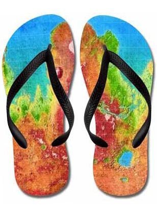A print of the colorful map of Modified Mars, a fully terraformed world with it's craters, seas, forests and canyons. From the northern ocean to the southern highlands: it's a beautiful planet.  These quality foam rubber flip flops feature soft polyester tops & contoured rubber straps for great comfort...great as beach sandals, pool shoes, or party slippers