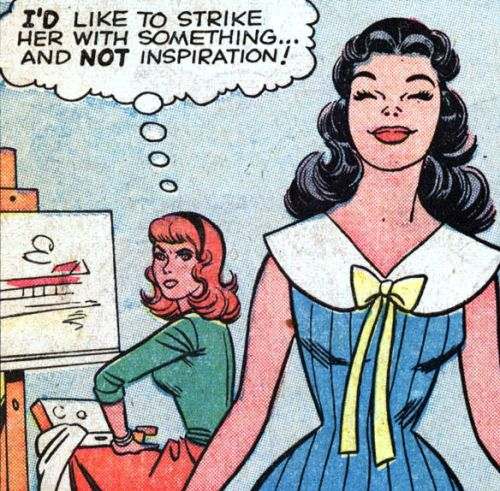 """Comic Girls Say.. """"I'd like to strike her with something... And not inspiration! """" #comic #vintage"""