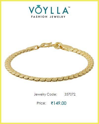 #Designer #Men's #Bracelet In Yellow Gold  #Price : Rs. 149.00  #Jewelry_Code : 357072  #Material : Brass