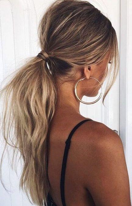 hoop earrings. ponytail