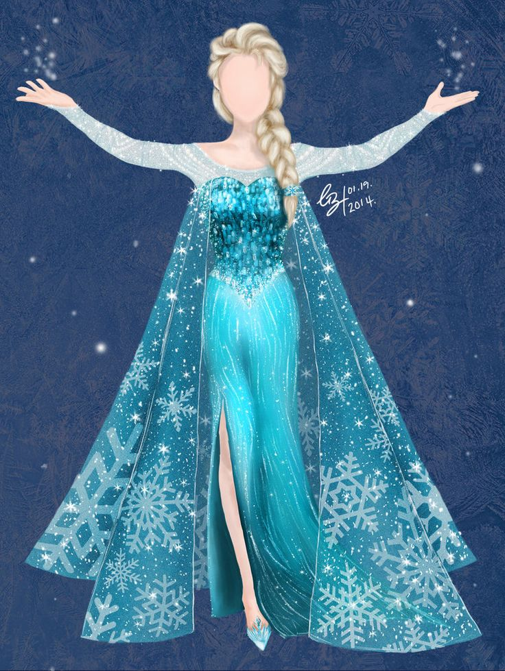 The fact that the dress is the 'main', I left the face blank. This piece was to show how the character, 'Elsa' would have looked like in the *general* humanistic female proportions (small face, 7 h...