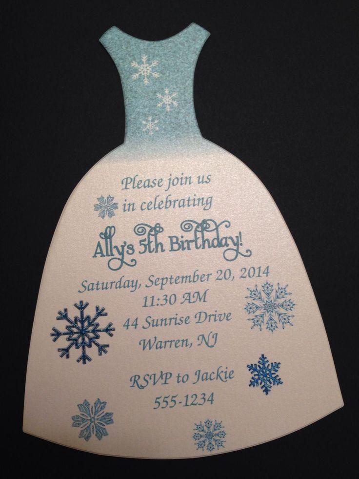 Frozen Elsa Princess Birthday Party Invitation On Shimmery Car Stock! $1.25 each by RSVP Custom Creations
