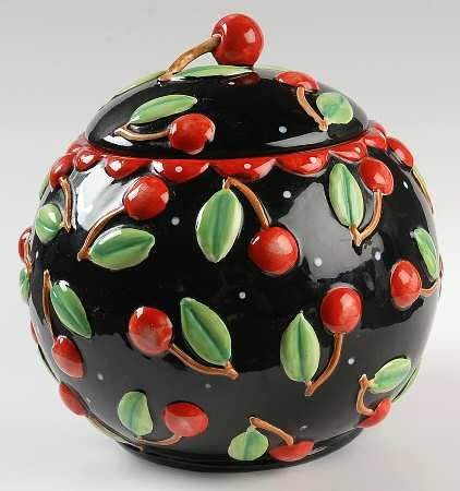 Mary  Engelbreit...Cherries Cookie jar. #MaryEngelbreit #CookieJar #Cherry