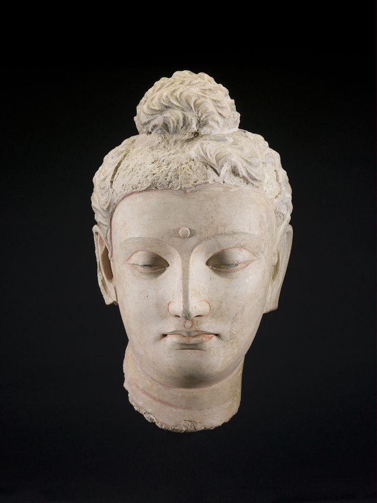 Gandhâran, Kushan dynasty; Head of Sâkyamuni Buddha, 4th century; stucco with traces of pigment; 18 x 11 1/2 x 10 1/2 in. (45.7 x 29.2 x 26.7 cm); Saint Louis Art Museum, Museum Purchase 43:1931