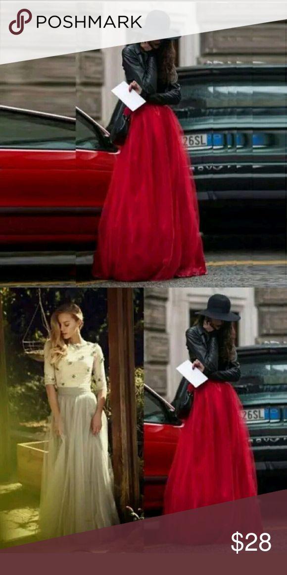 Long Red Tutu Skirt