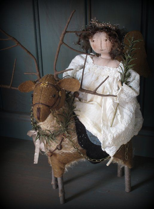 Travelling by Reindeer by Cheswick Company Angel Reindeer ooak www.etsy.com/shop/cheswickcompany