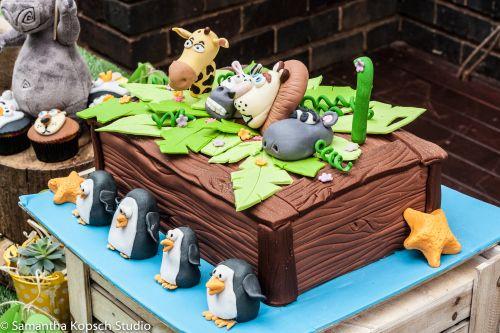 Madagascar themed party | Cake