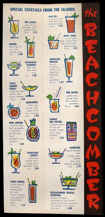 1960's cocktail menu, inside page spread  cocktail menu from Beachcomber - Carlton Hotel, Winnipeg, Canada
