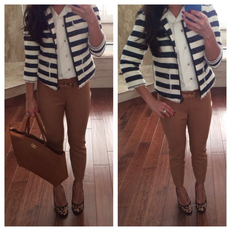 Striped nautical blazer, camel pants, leopard pumps, ferragamo tote - ootd - fall outfit - work outfit - office attire // StylishPetite.com