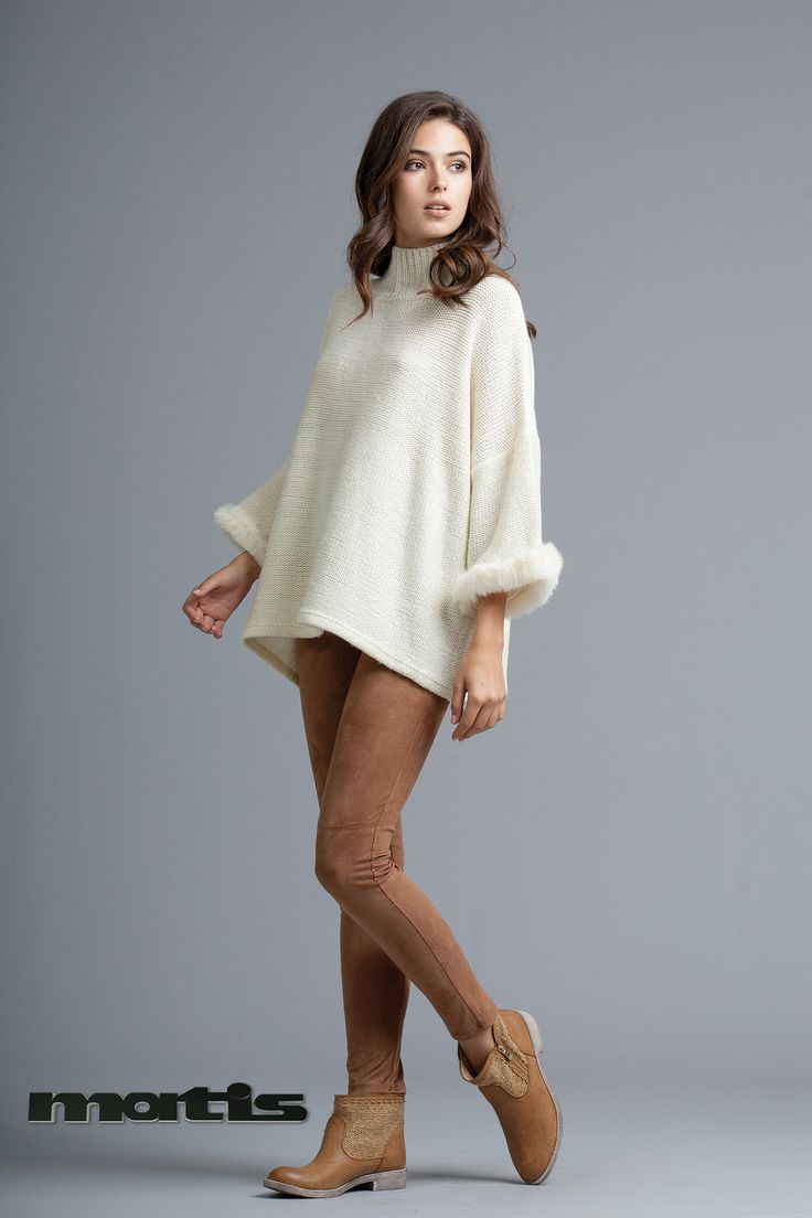 Pair your faux fur detailed sweater with suede leggings for an ultra cozy outfit!