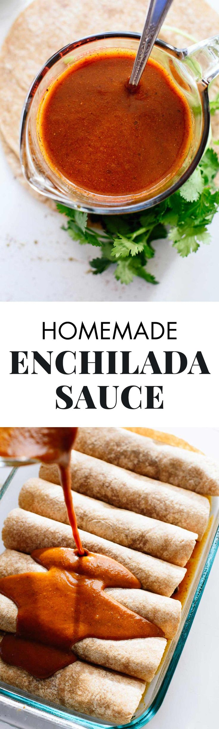 AMAZING homemade enchilada sauce — so good, you'll never use canned sauce again! This recipe comes together in under ten minutes, too.