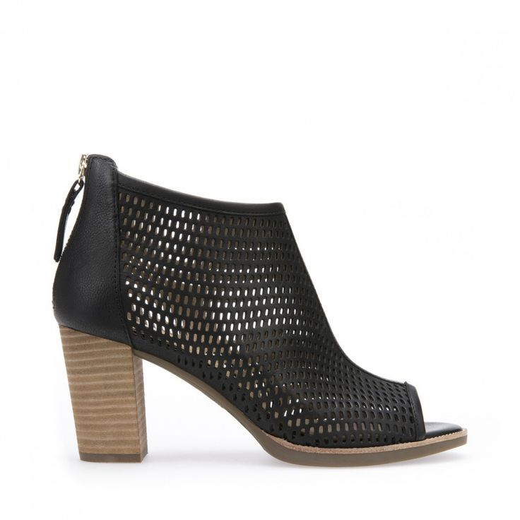 2016 Hot Sale Geox Lia Block Heeled Toe Point Ankle Boots Women Black Leather HMMAJ18