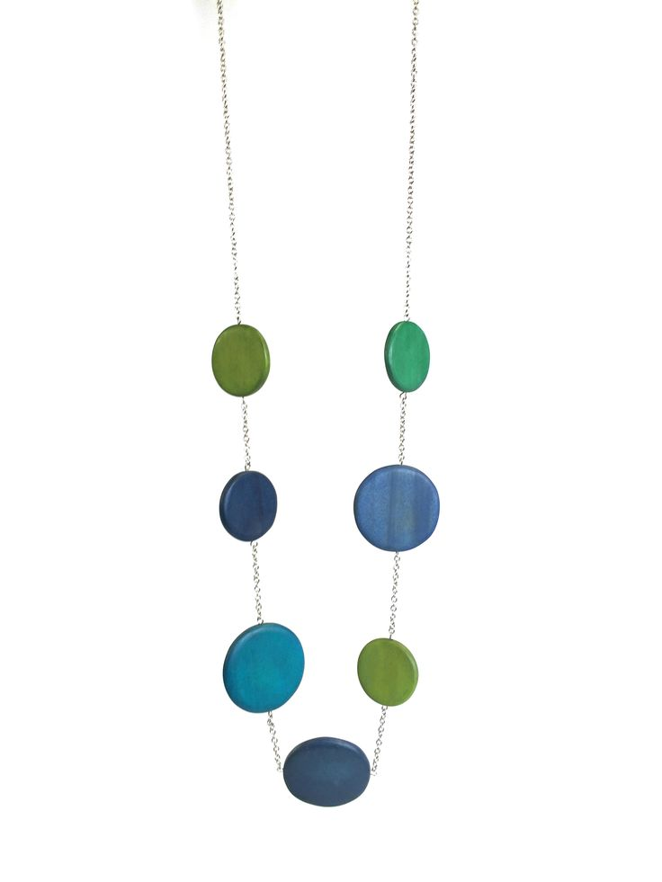 Naomi - long length necklace with large discs on chain #blue #green #beautifulblues #necklace #accessories #onebutton Click to buy from the One Button shop.